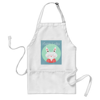 Cute white Easter bunny with pink hearts Adult Apron