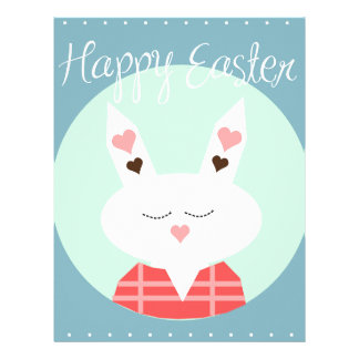 Cute white Easter bunny with pink hearts Letterhead