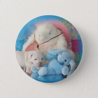 Cute White Easter Puppy Dog & Bunny Friends Button