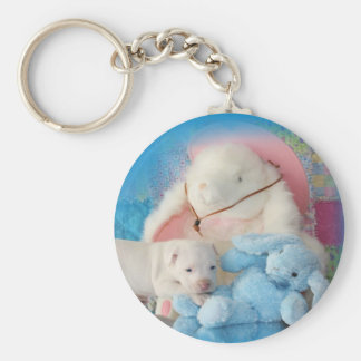 Cute White Easter Puppy Dog & Bunny Friends Keychain