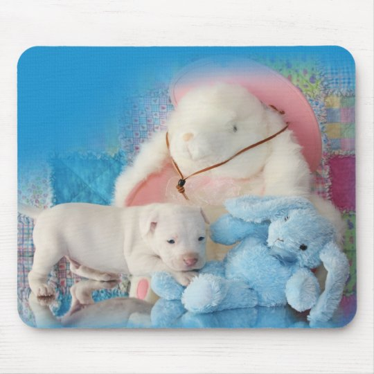 Cute White Easter Puppy Dog & Bunny Friends Mouse Pad