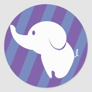 Cute white elephant with fun background classic round sticker