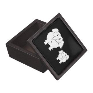 Cute White Elephants on Black. Cartoon. Gift Box