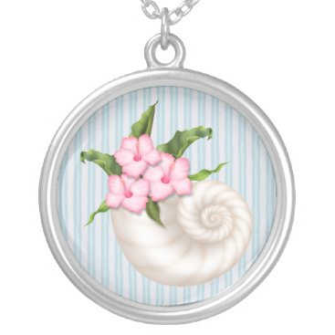 Beach Themed Cute White Flower Sea Shell Beach Floral Silver Plated Necklace