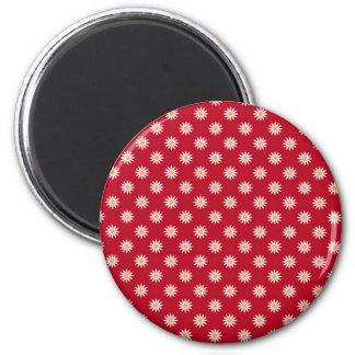 Cute White Flowers on Red Background Pattern Fridge Magnets