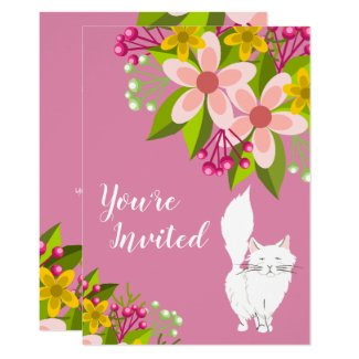 Cute White Fluffy Cat and Flowers on Pink Birthday Invitation