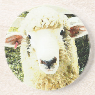 Cute White Fluffy Sheep Drink Coaster