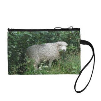 Cute White Fluffy Sheep Eating Bagettes Bag Coin Purse