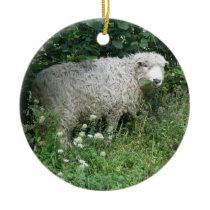 Cute White Fluffy Sheep Eating Ceramic Ornament