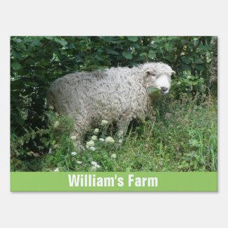 Cute White Fluffy Sheep Eating Custom Farm Sign