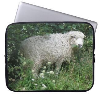 Cute White Fluffy Sheep Eating Laptop Sleeve