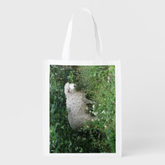 Cute White Fluffy Sheep Eating Reusable Bag Grocery Bags