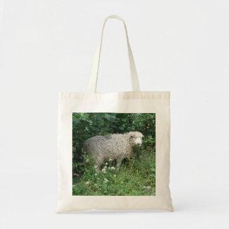 Cute White Fluffy Sheep Eating Tote Bag