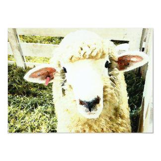 Cute White Fluffy Sheep 4.5x6.25 Paper Invitation Card