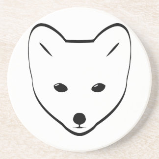 Cute White Fox Sandstone Coaster