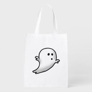 cute white ghost cartoon grocery bag