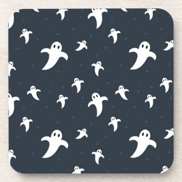 Halloween Themed Cute white ghosts beverage coaster