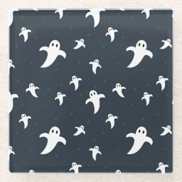 Halloween Themed Cute white ghosts glass coaster