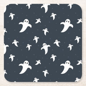Halloween Themed Cute white ghosts square paper coaster