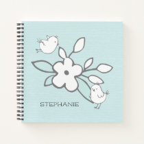 Cute White Hand Drawn Birds and Flowers Notebook