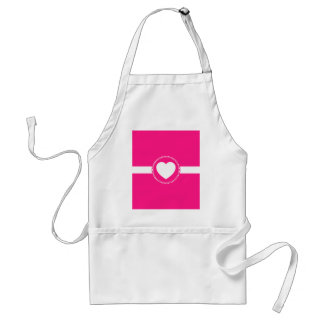 Cute White Heart in Scalloped Circle on Hot Pink Adult Apron