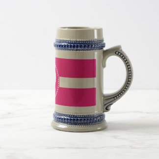 Cute White Heart in Scalloped Circle on Hot Pink Beer Stein