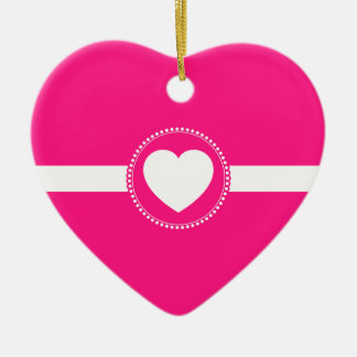 Cute White Heart in Scalloped Circle on Hot Pink Ceramic Ornament
