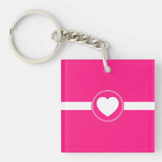 Cute White Heart in Scalloped Circle on Hot Pink Keychain