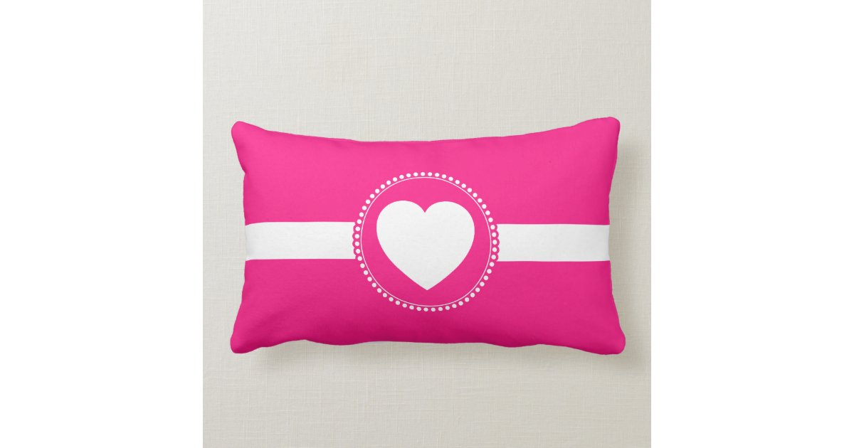 Cute White Heart In Scalloped Circle On Hot Pink Lumbar Pillow Zazzle