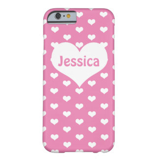 Cute White Hearts on Pink Girly Name iPhone 6 Case