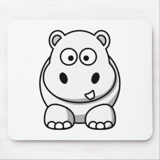 Cute White Hippo Mouse Pad