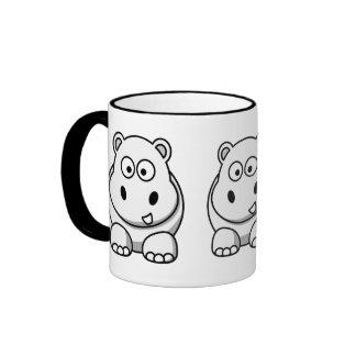 Cute White Hippo Ringer Coffee Mug