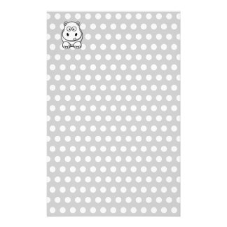 Cute White Hippo Stationery