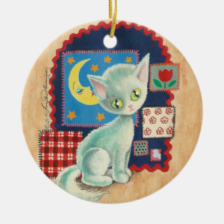 Cute White Kitten and Quilt Patchwork Art Ceramic Ornament
