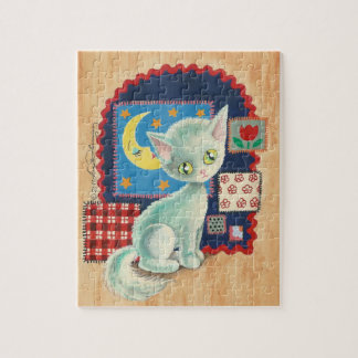 Cute White Kitten and Quilt Patchwork Art Jigsaw Puzzle
