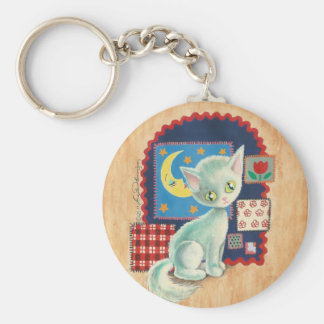 Cute White Kitten and Quilt Patchwork Art Keychains