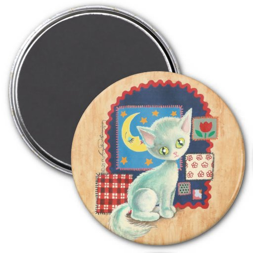 Cute White Kitten and Quilt Patchwork Art Magnet
