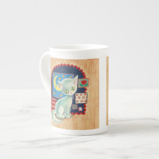 Cute White Kitten and Quilt Patchwork Art Tea Cup