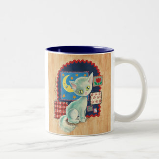 Cute White Kitten and Quilt Patchwork Art Two-Tone Coffee Mug
