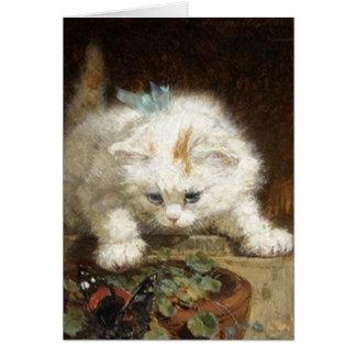 Cute White Kitten by Ronner-Knip Card