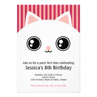 Cute White Kitten Cat Face Kids Birthday Invite