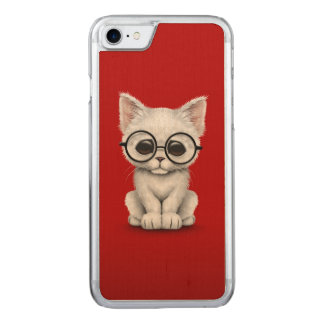 Cute White Kitten Cat with Eye Glasses Red Carved iPhone 7 Case