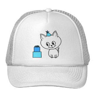Cute White Kitten in a Blue Birthday Hat.