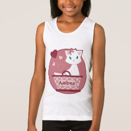 Cute white kitten in basket with hearts tank top