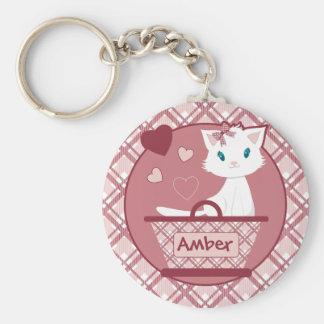 Cute white kitten in Pastel Pink Tartan Basket Keychain