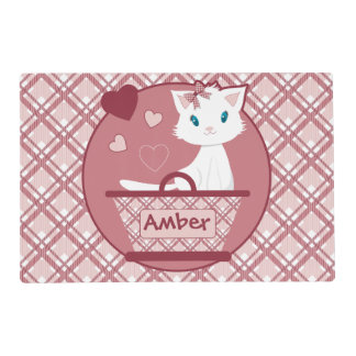 Cute white kitten in Pastel Pink Tartan Basket Placemat