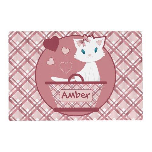 Cute white kitten in Pastel Pink Tartan Basket Placemat