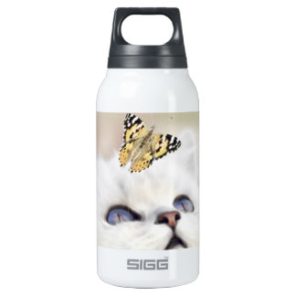 Cute white kitten insulated water bottle