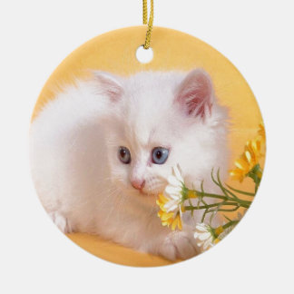 Cute White Kitten Plays With Flowers Ceramic Ornament