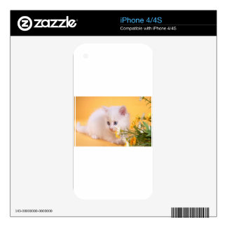 Cute White Kitten Plays With Flowers iPhone 4S Skin